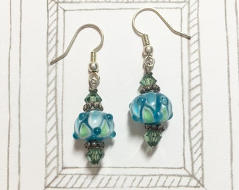 Beautiful Blue Vs Green Lampwork Glass Bead Earrings, Swarovski Crystal Earrings, Dangle Earrings, Birthday Gift, Christmas Gift