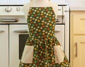 Retro Apron Fall Leaves on Olive Green Full Apron for Little Girls