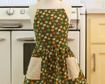 Retro Apron Fall Leaves on Olive Green Full Apron for Little Girls