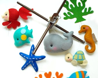 Free US Ship Musical Baby Mobile OCEANOGRAPHY Under the Sea Fish, Custom Mobile for Crib Nursery, Modern Nautical, Ocean Maritime theme