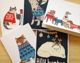 Set of 5 cats and dogs Christmas cards