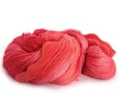 Red handdyed yarn, BFL silk laceweight hand dyed Perran Yarns Heart's Desire bluefaced leicester variegated coral pink wool skein, uk seller