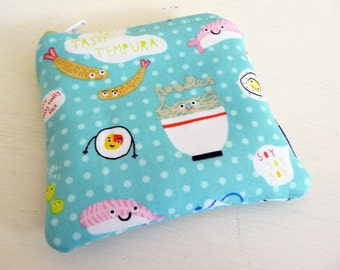 Aqua Sushi Coin Purse, Tiny Padded Pouch, Small Zippered Bag