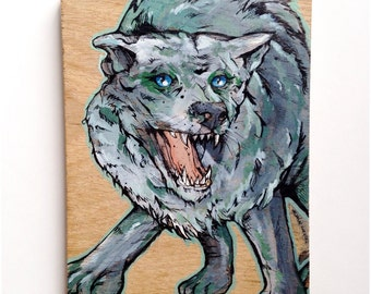 Gray Wolf original hardwood painting - Stop Killing DireWolves