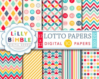 40% off Modern geometric digital scrapbook papers  polka dots, stripes, aztec, LOTTO Instant Download commercial use