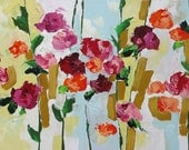 Floral Landscape Original Painting SALE Wall Decor Abstract Art Impressionist Canvas Art Red Roses Acrylic Painting on Canvas Linda Monfort