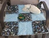 Cat Bed, Cat Blanket, Cat Quilt, Blue Cat Bed, Handmade Cat Bed, Cat Bed WithToy, Travel Cat Bed, Luxury Cat Bed, Fabric Cat Bed, Pet Bed