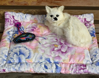 SAVED FOR WANDA....Cat Bed, Cat Mat,  Cat Napping Mat, Colorado Catnip Bed, Pink and Blue Cat Bed, Colorado Catnip Bed, Cat Accessories,