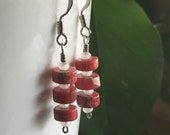 Coral and Crystal Earrings