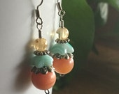 Citrine, Glass, and Agate Earrings