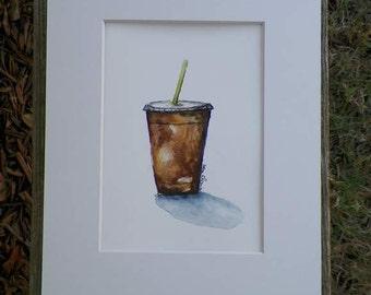 Daily Caffeine Drink Original Watercolor Food Kitchen Home Decor Art Artist Debra Alouise