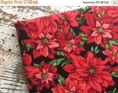 40% FLASH SALE- Christmas Poinsettia Fabric-Cotton Quilting Fabric-Red and Black