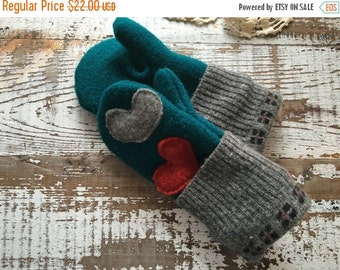 30% OFF SUPER SALE- Upcycled Felted Wool Mittens- Heart Mittens-Small Child