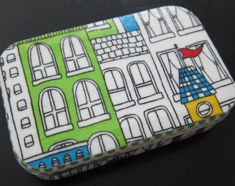 Upcycled Altoids Tin Decoupaged with Uptown Fabric