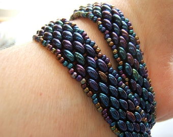 It's a Wrap!  Handmade Beaded Double Wrap Bracelet - Blue Iris