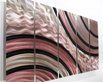 Mesmerizing Black, Silver & Pink Handmade Modern Metal Wall Art Sculpture - Metallic One of a Kind Abstract Painting - OOAK 546 by Jon Allen