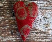 Rustic Heart Ornament, Christmas Ornament, Rustic Home Decor, Red Heart, Antique Coverlet Heart, Red Coverlet, Primitive Heart, Rustic Decor