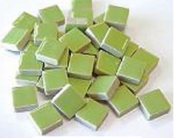 50 - 3/8 inch LIGHT GREEN Ceramic Mosaic Tiles