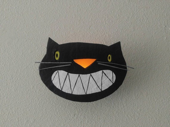 Halloween Wall Lights : Items similar to halloween...wall sconce...black cat nervous grin on Etsy