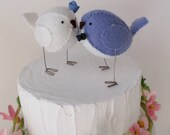 Wedding love birds - cake topper in periwinkle blue and white