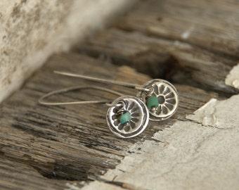 Desert Bloom Earrings- Oxidized fine silver. Turquoise. Dangle earrings.Handmade