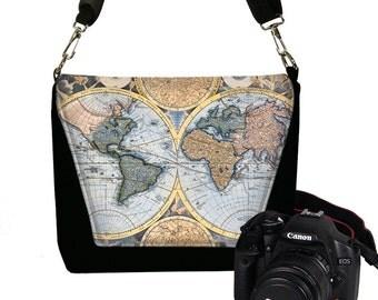 Handmade Camera Bag for Women Camera Case DSLR Camera Bag Purse Vintage World Map blue black green multi-color MTO