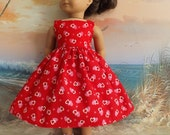 American Girl Doll Clothes Long Sun Dress Red Valentine Medley with Pink and White Hearts