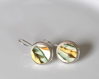 Simple Circle Broken China Earrings - Green Yellow and White