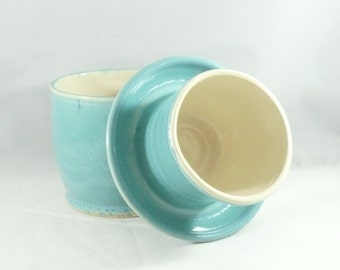 Large French Butter Crock in robin's egg blue pottery and ceramics,  kitchen gadget ceramic butter bell top - butter keeper dish 345