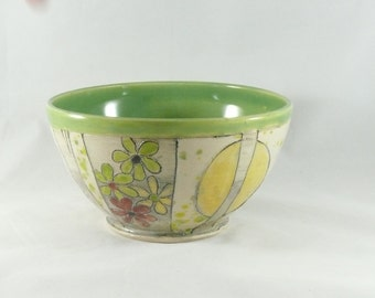 Spring Green Pottery Bowl, Decorative Ceramic Bowl, Handmade Soup Bowl, Salad Bowl, Kitchen Decor, Dorm Room 431