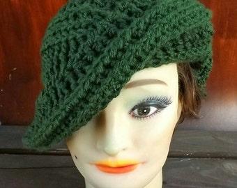 Crochet Beret Hat,  Crochet Hat Womens Hat Trendy,  Womens Crochet Hat,  Crochet Beret Hat,  Olive Green Hat,  Green Beret,  PALM LEAF