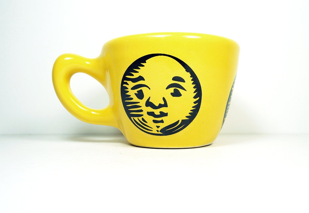 12oz cup with a Luna (Moon) print, shown on Lemon Butter glaze - Made to Order/ Pick Your Colour