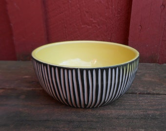 Modern porcelain Bowl YELLOW black white