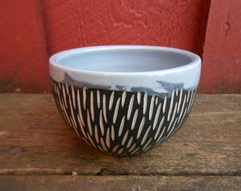 Modern porcelain BOWL cup blue black white