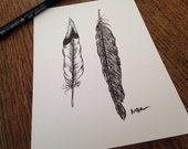 Original Ink Drawing, Nature Art, Bird Feathers, Black and White, Feather Illustration, Feather Art Drawing, Small Drawing, 5 x 7""