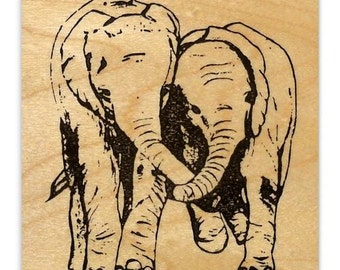 ELEPHANT FRIENDS  African mounted rubber stamp, large No.17