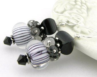 Black white lampwork onyx quartz sterling earrings - cluster stripes black rutilated quartz