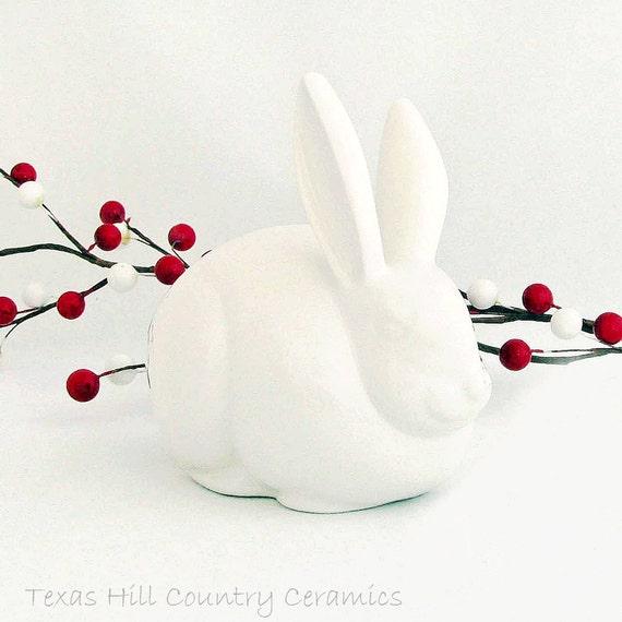White Cottontail Bunny Rabbit Cotton Ball Holder for Bath Vanity Ceramic Rabbit Keeps Cotton Handy for Nail Technician Manicurist Pedicurist