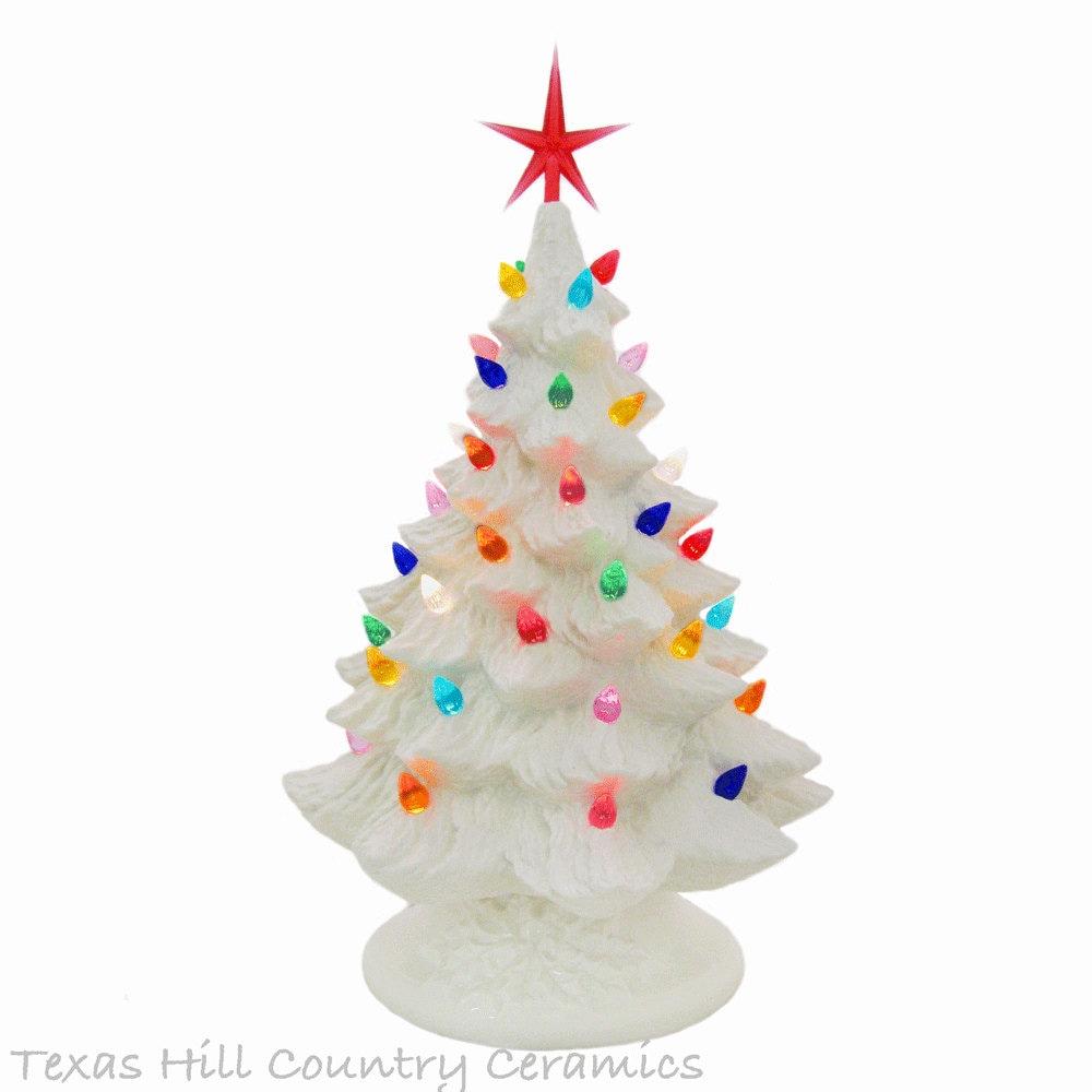 White Ceramic Christmas Tree 16 Inch Tall Tabletop Christmas