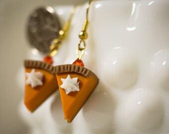 Pumpkin Pie Earrings Hand Crafted Polymer Clay Fun Fake Food