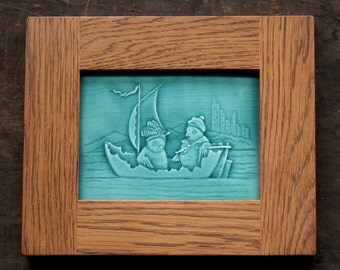 Afternoon Sail - Handmade Ceramic Tile set in Oak Frame