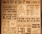 Laser cut and engraved wood Star Trek the Original Series fact plaque desk or wall mountable