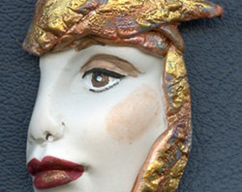 Polymer Clay Profile One of a kind Detailed and textured Face Shard  AWTP 1