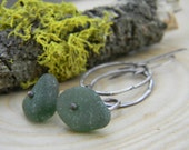 Forest Green Sea Glass dangle earrings - oxidized silver - English Sea Glass