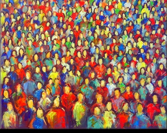 Abstract Painting ORIGINAL Modern Art Colorful Contemporary Painting Large Pop Art  - Faces in the CROWD 36x30 by BenWill
