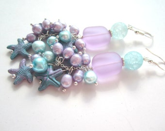 Pastel Sea Glass and Pearl Earrings.  Blue and Purple Starfish Earrings. Long Starfish and Pearl Earrings.,