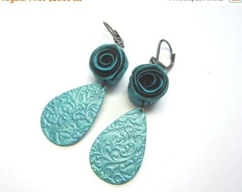 CIJ 35% OFF Poly Clay Teal Rosette Dangle Earring Earrings. Teal Rose and Hand Painted Teardrop Brass Dangles. Under 50.
