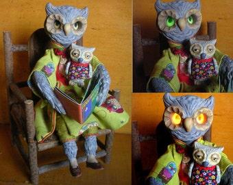 OOAK Handmade Art Doll Owl and Owlet Reading Goodnight Moon Nursery Decor Gift Anthropomorphic