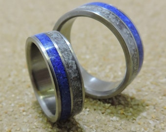 Titanium Rings, Wedding Rings, His and Hers Rings, Wedding Band Set, Handmade Ring, Rose Quartz Ring, Lapis Ring, Mens Ring, Womens Ring