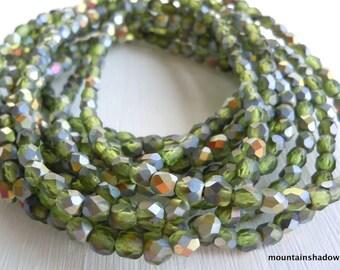 4mm Czech Beads  - Czech Glass Beads Matte Olivine Vitral Faceted Round - 50 pcs (G - 40)